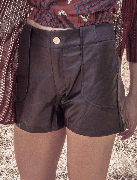 Shorts de PU Bolso Frontal