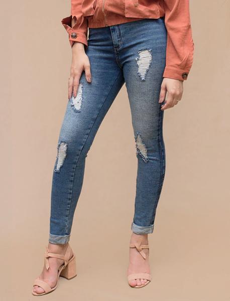 Calça Jeans Cigarrete Rasgos