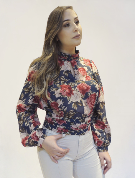 Cropped Estampado Gola Alta